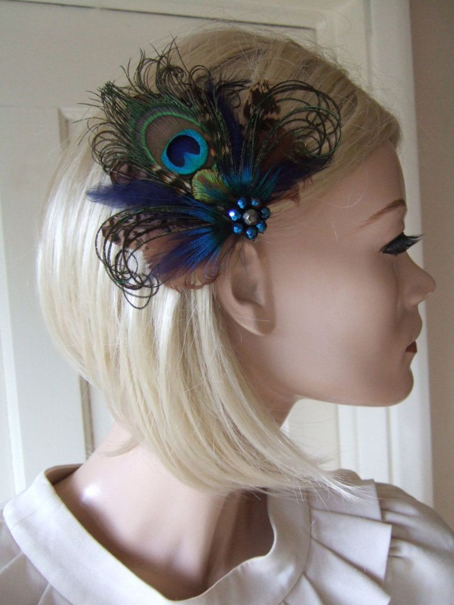 "Navy Brown Green Peacock Pheasant Feathers Fascinator Bridal Hair Clip ""Yana"""